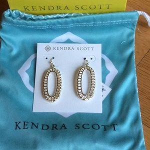 Kendra Scott Dayla earrings.  Clear stone in gold.